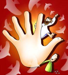 jesus mano fuego paz