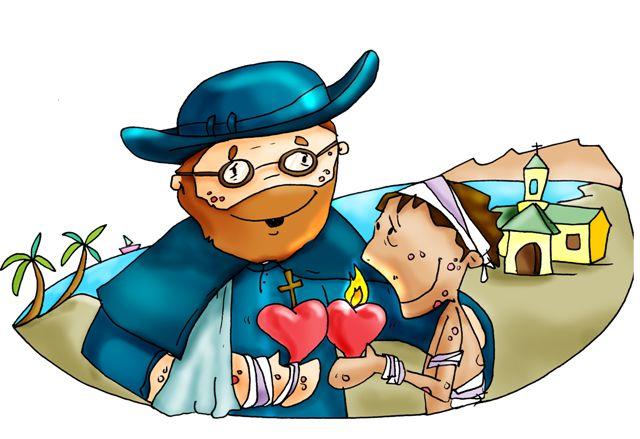 Damián y niño enfermo de lepra