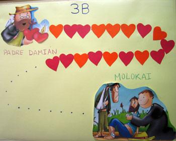 Mural de alumnos de Infantil corazones Damián