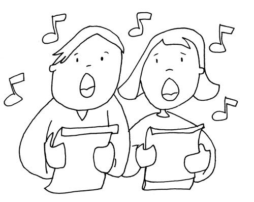 de niños cantando Colouring Pages Cantando