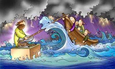Jesús y la tempestad calmada