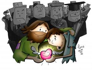 Jesús muestra su Corazón a los senillos