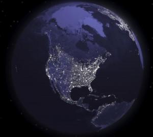 America-del-Norte-de-noche