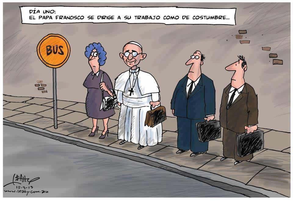 El Papa esperando el bus