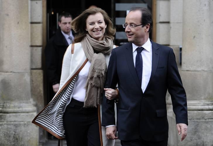 Hollande y la ya ex primera dama Valérie
