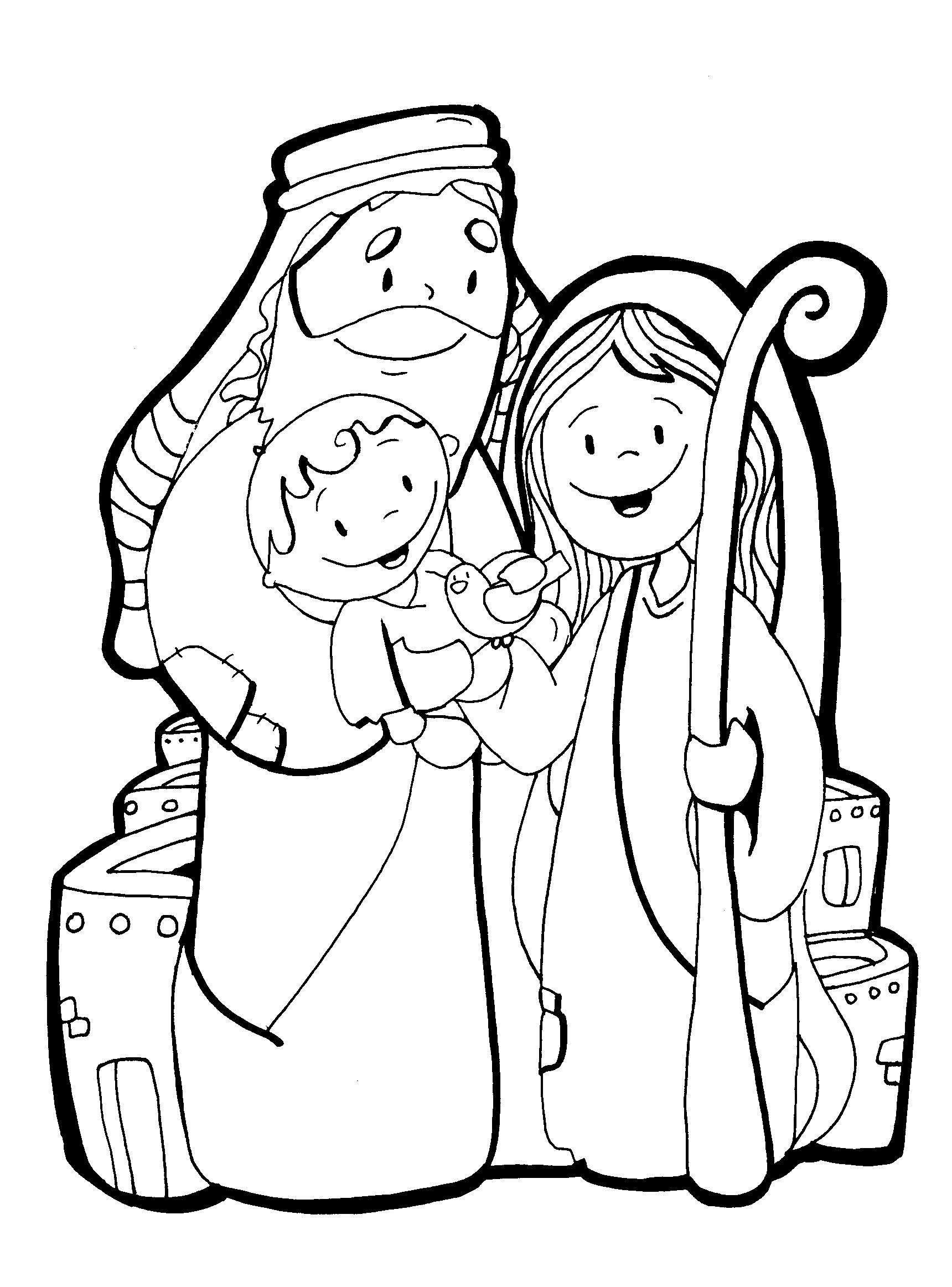 Familia en navidad para dibujar